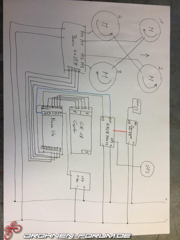 Graupner hott und Naza komponenten Verdrahtung/Verkabelung ...