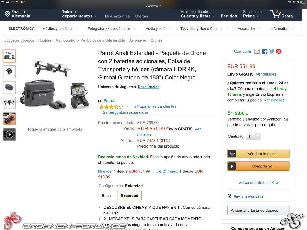 Parrot Anafi Extended Kid für nur 559€ bei Amazon es