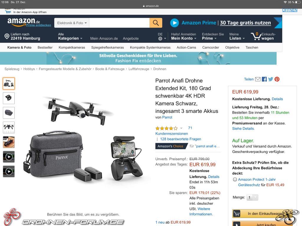 Parrot Anafi Drohne Extended Kit für nur 619,99€ Amazon de